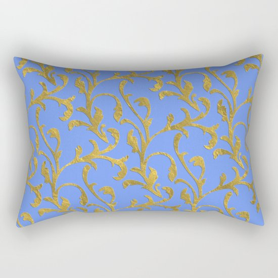 Queenlike on blue  I- gold ornament on blue backround- elegant pattern Rectangular Pillow