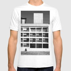 Architecture of Impossible_Como Le Corbusier White Mens Fitted Tee 2X-LARGE