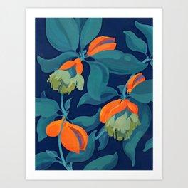 Tropical orange fruit tree Art Print