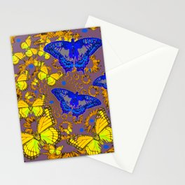Decorative Blue & Yellow Butterfly Patterns Stationery Cards