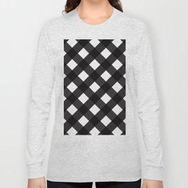 Contemporary Black & White Tilt Gingham Pattern - Mix & Match With Simplicty Of Life Long Sleeve T-shirt