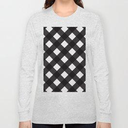 Contemporary Black & White Tilt Gingham Pattern - Long Sleeve T-shirt