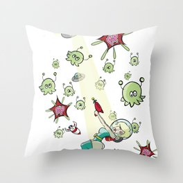 Pin up vs Invaders Throw Pillow