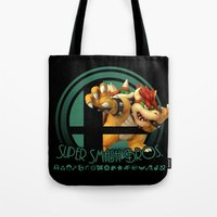 smash bros Tote Bags featuring Bowser - Super Smash Bros. by Donkey Inferno