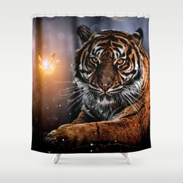The Tiger and the Magic Butterfly by GEN Z Shower Curtain