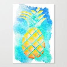 Tropical Hawaiian Pineapple Watercolor Canvas Print