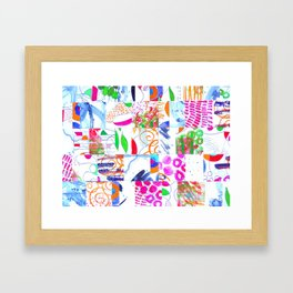 Hand Painted Paper Collage Pattern Framed Art Print