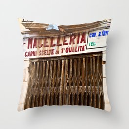 Old Sicilian Butcher Shop in Marsala Throw Pillow
