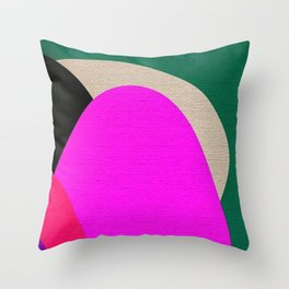 Abstract Composition in Green and Fuchsia Throw Pillow