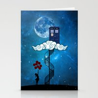 banksy Stationery Cards featuring Tardis Stair banksy ballons Girl by neutrone