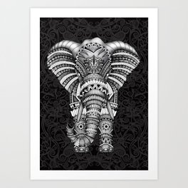 elephant with aztec pattern Art Print