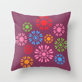Colorful snowflake flowers on burgundy Throw Pillow