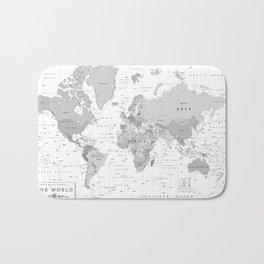 World Map [Black and White] Bath Mat