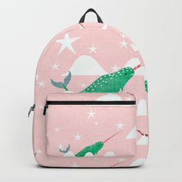 Sea unicorn - Narwhal green and pink Backpack