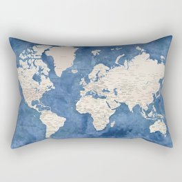 Light brown and blue watercolor detailed world map Rectangular Pillow
