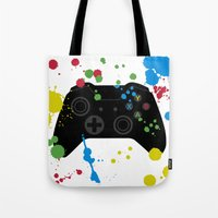xbox Tote Bags featuring Controller Graffiti XBox One by AngoldArts