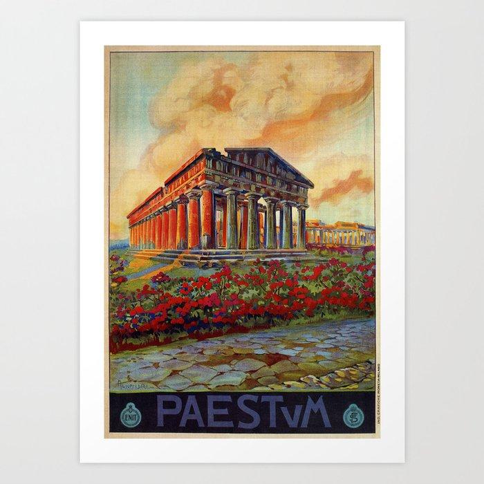 paestum ancient greek temple art print by aapshop society6