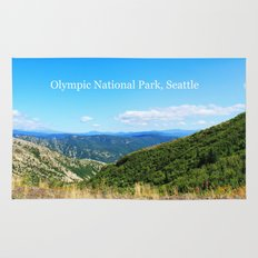 Landscape photography of mountain, blue sky and wild land.  Rug