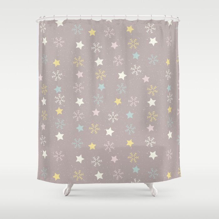 Pastel Brown Pink Yellow Christmas Snow Flakes Stars Pattern Shower Curtain