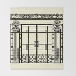 ART DECO, ART NOUVEAU IRONWORK: Black and Cream Throw Blanket