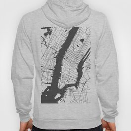 New York City White on Gray Street Map Hoody