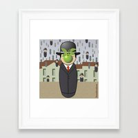 magritte Framed Art Prints featuring Kokeshi Magritte by Pendientera