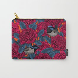 Red waratah and fairy wrens Carry-All Pouch