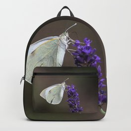 Cabbage butterfly on lavender flower Backpack