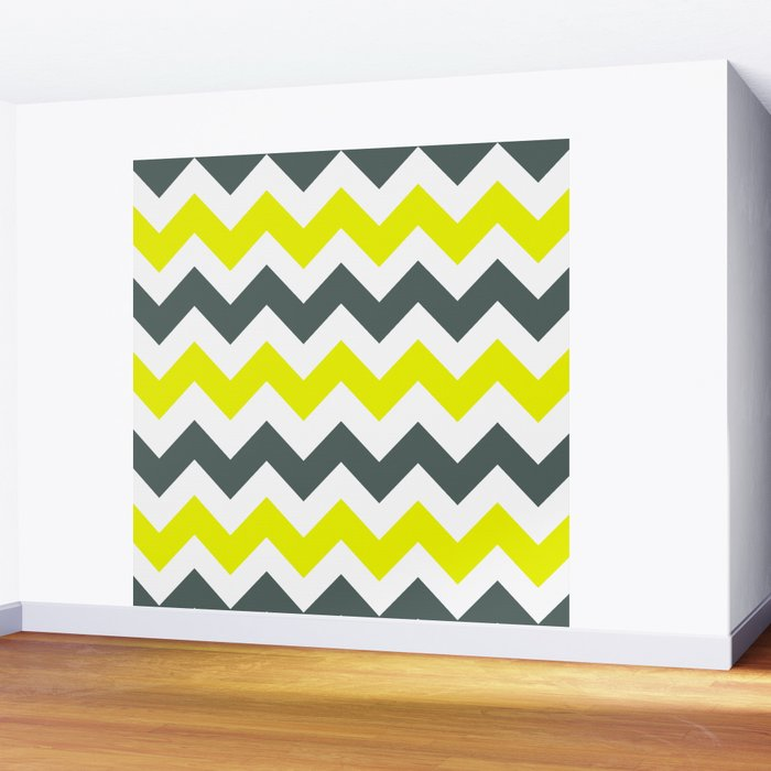 Chevron Pattern In Limelight Yellow Grey and White Wall Mural