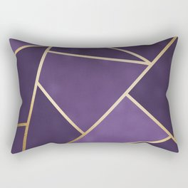 Beautiful Amethyst Gold Geometry Art Rectangular Pillow