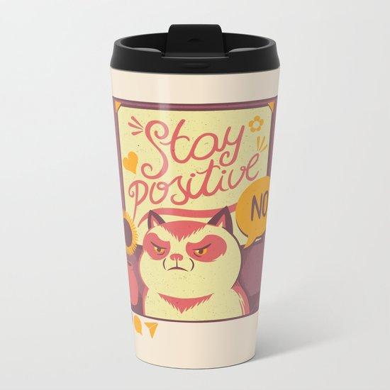 Stay Positive Cat Metal Travel Mug