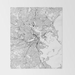 Boston White Map Throw Blanket
