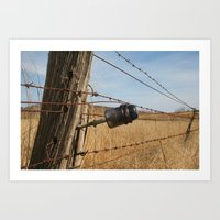 electric fence from days gone by Art Print