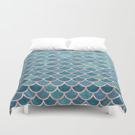 Mermaid Scales in Teal and Rose Gold Duvet Cover