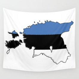 Estonia Map with Estonian Flag Wall Tapestry