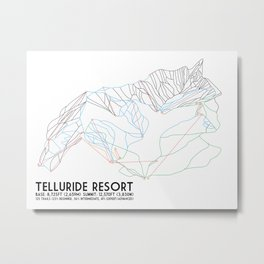 Telluride, CO - Minimalist Trail Maps Metal Print