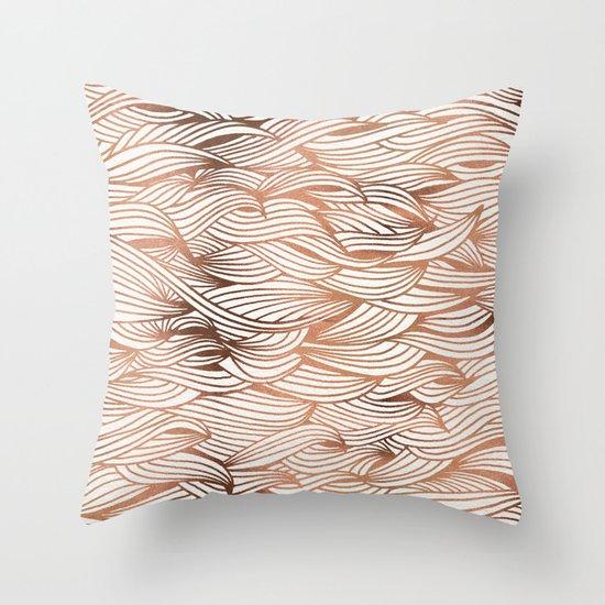 Rose Gold Waves Throw Pillow