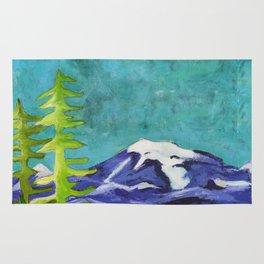 Rocky Mountain Winter Landscape Rug