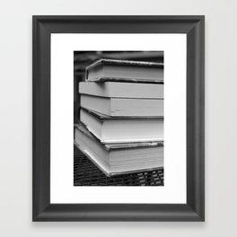 Stack of Books (in black and white) Framed Art Print