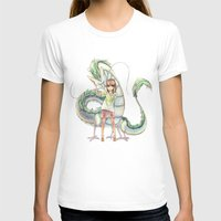 calcifer T-shirts featuring Chihiro and Haku by CromMorc