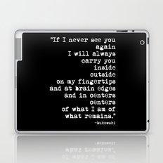 Charles Bukowski Typewriter White Font Quote Centers Laptop & iPad Skin