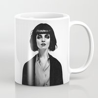 white Mugs featuring Mrs Mia Wallace by Ruben Ireland