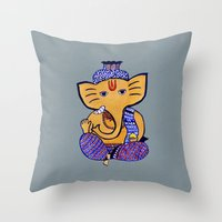 ganesha Throw Pillows featuring Ganesha by Vanya