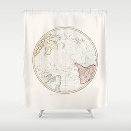 Southern Hemisphere - reproduction of William Faden's 1790 engraving Shower Curtain