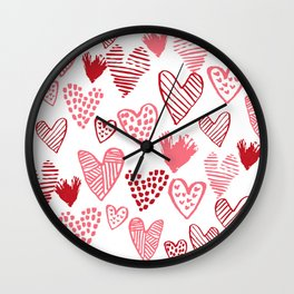 Hearts red and white hand drawn minimal modern fun valentines day gifts Wall Clock