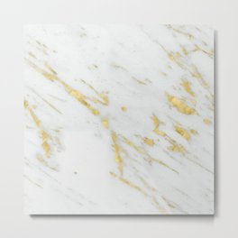 Luxury white marble gold accent Metal Print