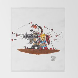 Calvin and Hobbes Inspired Hero Parody Throw Blanket
