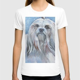 Lhasa Apso dog art portrait from an original painting by L.A.Shepard T-shirt
