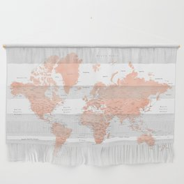 """Rose gold world map with cities, """"Hadi"""" Wall Hanging"""