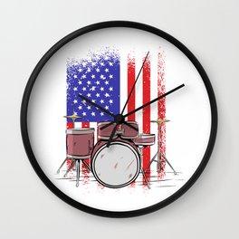 Drummer america flag usa Wall Clock